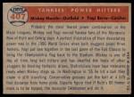 1957 Topps #407   -  Mickey Mantle / Yogi Berra Yankees' Power Hitters Back Thumbnail