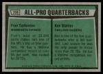 1975 Topps #208   -  Fran Tarkenton / Ken Stabler All-Pro Quarterbacks Back Thumbnail