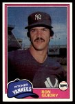 1981 Topps #250  Ron Guidry  Front Thumbnail