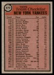 1981 Topps #670   Yankees Team Checklist Back Thumbnail