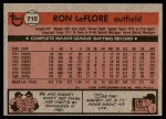 1981 Topps #710  Ron LeFlore  Back Thumbnail