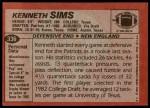 1983 Topps #336  Kenneth Sims  Back Thumbnail