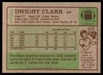 1984 Topps #351  Dwight Clark  Back Thumbnail