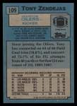 1988 Topps #109  Tony Zendejas  Back Thumbnail