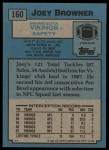 1988 Topps #160  Joey Browner  Back Thumbnail