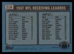 1988 Topps #216   -  Al Toon / J.T. Smith Receiving Leaders Back Thumbnail