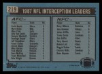 1988 Topps #219   -  Keith Bostic / Mark Kelso / Mike Prior / Barry Wilburn Interception Leaders Back Thumbnail