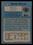 1988 Topps #231  Mark Kelso  Back Thumbnail