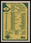 1989 Topps #6   -  Joe Montana / Roger Craig / Tim McKyer / Charles Haley / Michael Walter 49ers Leaders Back Thumbnail