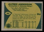 1989 Topps #85  Alfred Anderson  Back Thumbnail