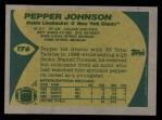 1989 Topps #176  Pepper Johnson  Back Thumbnail
