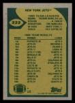 1989 Topps #222   -  Ken O'Brien / Freeman McNeil / Al Toon / Erik McMillan / Marty Lyons / Kyle Clifton Jets Leaders Back Thumbnail