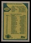 1989 Topps #250   -  Doug Williams / Kelvin Bryant / Ricky Sanders / Barry Wilburn / Dexter Manley / Alvin Walton Washington Redskins Leaders Back Thumbnail