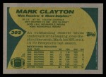 1989 Topps #302  Mark Clayton  Back Thumbnail