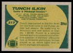 1989 Topps #317  Tunch Ilkin  Back Thumbnail