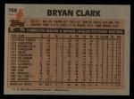 1983 Topps #789  Bryan Clark  Back Thumbnail