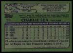 1982 Topps #38  Charlie Lea  Back Thumbnail