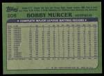 1982 Topps #208  Bobby Murcer  Back Thumbnail