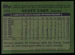 1982 Topps #229  Geoff Zahn  Back Thumbnail