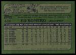 1982 Topps #408  Ed Romero  Back Thumbnail