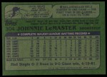 1982 Topps #304  Johnnie LeMaster  Back Thumbnail