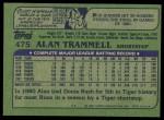 1982 Topps #475  Alan Trammell  Back Thumbnail