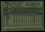 1982 Topps #484  Ivan DeJesus  Back Thumbnail