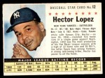 1961 Post Cereal #12 BOX Hector Lopez   Front Thumbnail