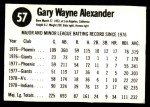 1979 Hostess #57  Gary Alexander  Back Thumbnail
