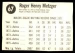 1976 Hostess #67  Roger Metzger  Back Thumbnail