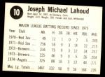 1975 Hostess #10  Joe Lahoud  Back Thumbnail
