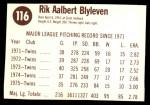 1976 Hostess #116  Bert Blyleven  Back Thumbnail
