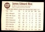 1976 Hostess #127  Jim Rice  Back Thumbnail