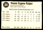 1978 Hostess #34  Duane Kuiper  Back Thumbnail