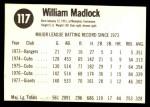 1978 Hostess #117  Bill Madlock  Back Thumbnail