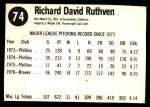 1977 Hostess #74  Dick Ruthven  Back Thumbnail