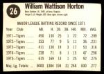 1976 Hostess #26  Willie Horton  Back Thumbnail