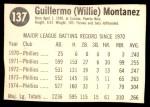 1975 Hostess #137  Willie Montanez  Back Thumbnail