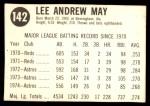 1975 Hostess #142  Lee May  Back Thumbnail