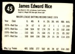 1978 Hostess #45  Jim Rice  Back Thumbnail