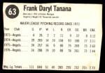 1977 Hostess #63  Frank Tanana  Back Thumbnail