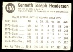 1975 Hostess #136  Ken Henderson  Back Thumbnail