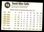 1978 Hostess #96  Dave Goltz  Back Thumbnail