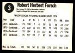 1978 Hostess #3  Bob Forsch  Back Thumbnail