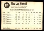 1978 Hostess #84  Roy Howell  Back Thumbnail