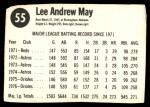 1977 Hostess #55  Lee May  Back Thumbnail