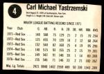 1977 Hostess #4  Carl Yastrzemski  Back Thumbnail