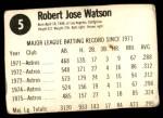 1976 Hostess #5  Bob Watson  Back Thumbnail
