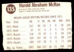 1976 Hostess #135  Hal McRae  Back Thumbnail