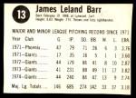 1975 Hostess #13  Jim Barr  Back Thumbnail